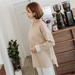 JOAMOM - Drop-Shoulder Color-Block Knit Top