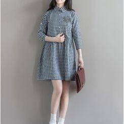 Clover Dream - 3/4-Sleeve Check A-line Dress