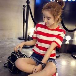 Lovebirds - Short-Sleeve Striped T-Shirt