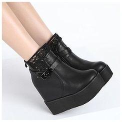 Anran - Lace Trim Platform Short Boots