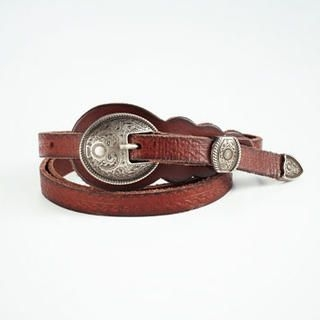Moonbasa - Embossed Buckle Genuine Leather Slim Belt