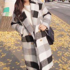 Champi - Check Woolen Long Coat