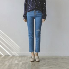 JUSTONE - Slit-Knee Fray-Hem Straight-Cut Jeans