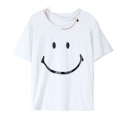 Sentubila - Smiley Print Cutout Short-Sleeve T-Shirt