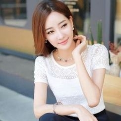 Lovebirds - Short-Sleeve Lace Top