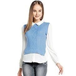O.SA - Long-Sleeve Mock Two-Piece Shirt