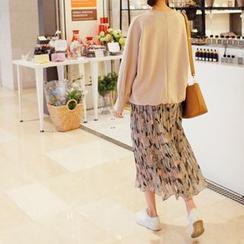 mimi&didi - Pleated Pattern Long Skirt