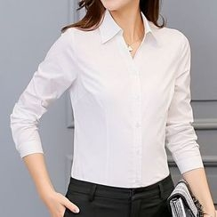 Q.C.T - Plain Long-Sleeve Blouse