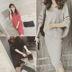 QZ Lady - Set: 3/4-Sleeve Blouse + Midi Skirt