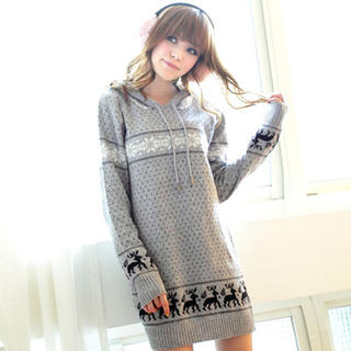 Tokyo Fashion - Nordic-Print Hooded Sweater Dress