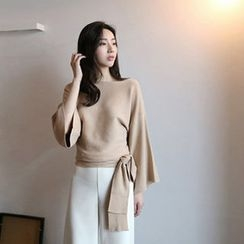 Hello sweety - Boat-Neck Tie-Waist Knit Top