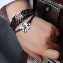 KINNO - Elephant Woven Layered Bracelet