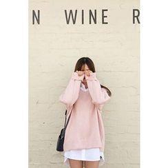 CHERRYKOKO - V-Neck Drop-Shoulder Sweater