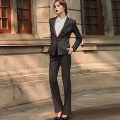 Aision - Set: Striped Blazer + Pants