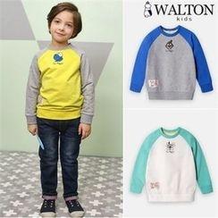 WALTON kids - Kids Contrast-Sleeve Printed Sweatshirt
