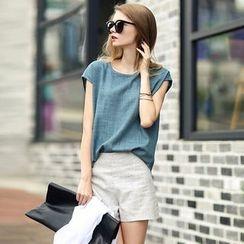 Rebecca - Set : Linen Cotton Short-Sleeve T-shirt + Shorts