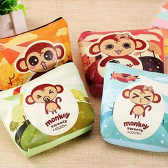 ITOK - Monkey Faux Leather Zip Pouch