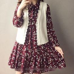 ANGELA - Set: Long-Sleeve Floral Dress + Knit Vest