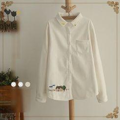 白金天使 - 刺繡長袖襯衫