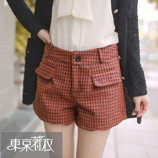 Tokyo Fashion - Scallop-Hem Houndstooth Shorts