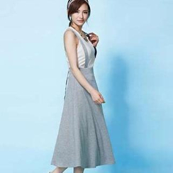 Moonbasa - Elastic-Waist Suspenders Long Skirt