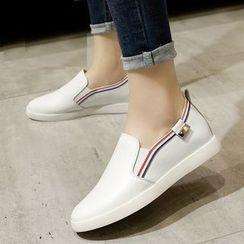 ZOHOUR - Plain Genuine Leather Slip Ons