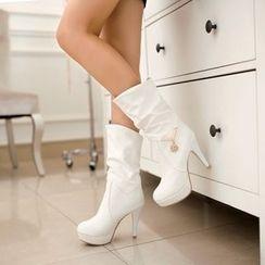 Shoes Galore - Rhinestone Heel Boots