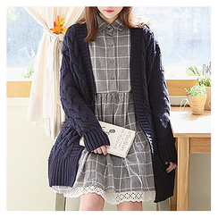 Sechuna - Open-Front Cable-Knit Cardigan