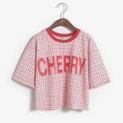 Porta - Plaid Lettering Cropped T-Shirt