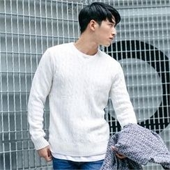 STYLEMAN - V-Neck Cable-Knit Top