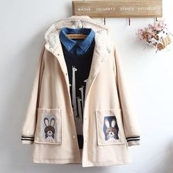 akigogo - Rabbit Embroidered Hooded Jacket