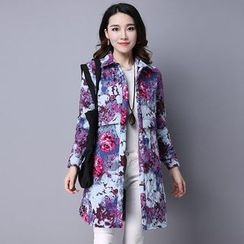 lilygirl - Floral Print Quilted Long Shirt