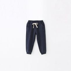 Rakkaus - Drawstring Gather-Cuff Striped Pants