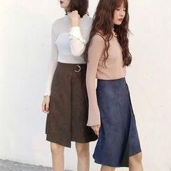 Alfie - Asymmetric Suede High-Waist A-Line Skirt