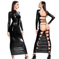 Gembeads - Cutout Back Faux Leather Party Costume