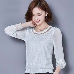 Eferu - Lace Trim Long Sleeve Top