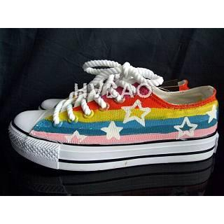 HVBAO - 'Rainbow Stripes and Stars' Canvas Sneakers