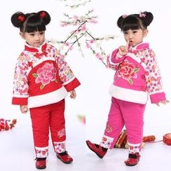 Lotus Seed - Kids Set: Long-Sleeve Embroidered Padded Top + Pants