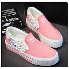 EUNICE - Lace-Trim Floral Hidden-Heel Platform Sneakers
