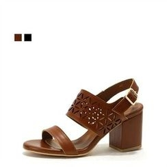 MODELSIS - Genuine Leather Perforated Heel Sandals
