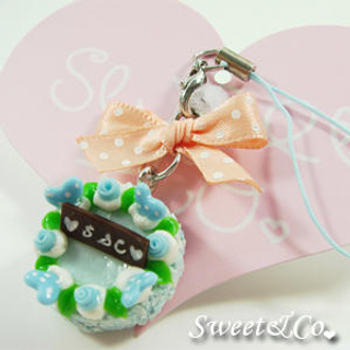 Sweet & Co. - Sweet Ribbon Blue Rose Cake Cell Phone Strap