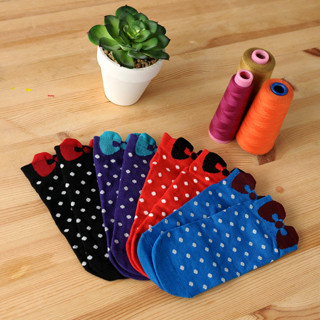 59 Seconds - Set of 4: Polka-Dot Bow Print Socks