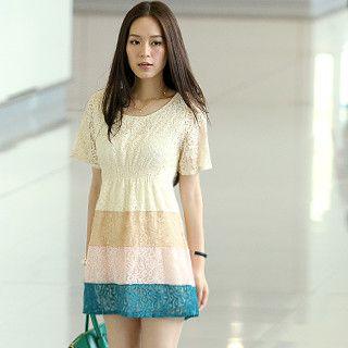 59 Seconds - Color-Block Lace Dress