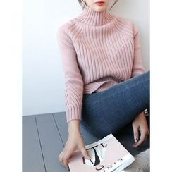 STYLEBYYAM - Turtle-Neck Raglan-Sleeve Dip-Back Knit Top
