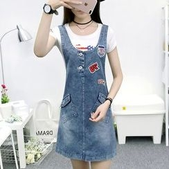 Cottony - Appliqué Washed Denim Pinafore Dress