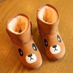 绿豆蛙童鞋 - 童装熊刺绣短款雪靴