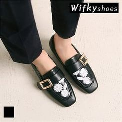 Wifky - Faux-Leather Flower-Embroidered Loafers