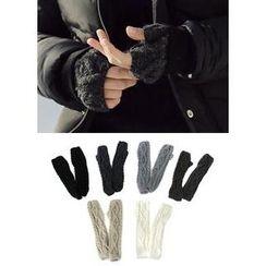 JOGUNSHOP - Cable-Knit Fingerless Gloves