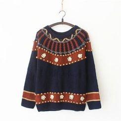 Moricode - Floral Applique Sweater