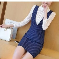 Eighoo - Set: Fill Collar 3/4 Sleeve Lace Top + Striped Pinafore Dress
